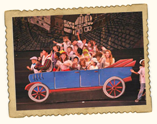Campers performing in Car on stage during theater camp